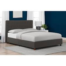 Dhp Emily Gray Upholstered Linen Queen Size Bed Frame 4108439 The ...