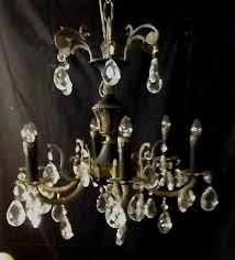 antique french empire style chandelier brass w black tole 6 arms as is