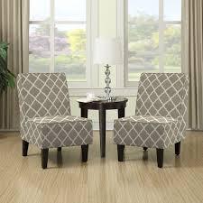 Handy Living Wylie Barley Tan Trellis Print Armless Chairs Set of
