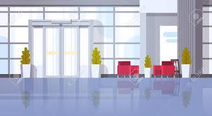 Flat Hall Design Modern Office Hall Building Waiting Room Interior Flat Design