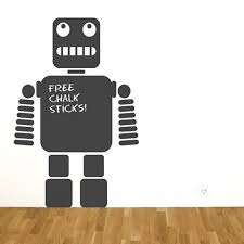 robot chalkboard wall sticker red candy