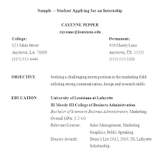 Internship Resume Sample For College Students Objective For