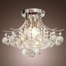 decorative flush mount chandelier fountain crystal semi small round chrome gold lights