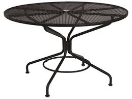 black metal outdoor furniture. Woodard Mesh Wrought Iron 48 Round Table With Umbrella Hole In Textured  Black Black Metal Outdoor Furniture T
