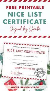 This is a digital download, no items will be mailed to you. Free Printable Nice List Certificate Signed By Santa