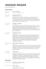 Events Manager Resume Samples Visualcv Resume Samples Database