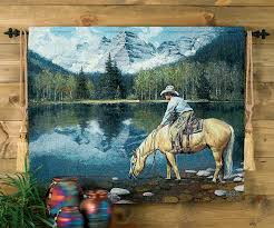 on black art tapestry wall hangings with colorado cowboy tapestry wall hanging