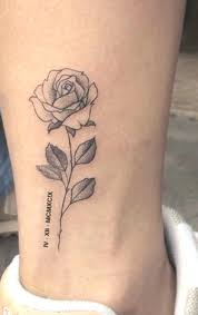 Delicate Little Rose Tattoo Ideas For Ankle Vintage Realistic Leg