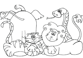 Jungle Animals Coloring Pages Safari Book As Unique Animal For Kids