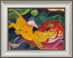 franz marc painting cow yellow red green 1912 framed
