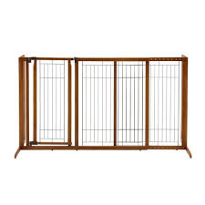 richell large wood freestanding pet gate with door