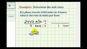Example 1 Determine Unit Rate Mph
