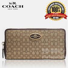 COACH F52572 Signature Jacquard Accordion Zip Wallet  Brown