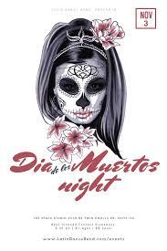 Halloween Dance Flyer Templates Dia De Los Muertos Night Latin Dance Party Latin Dance