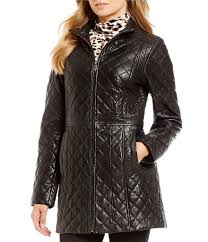 jones new york quilted puffer womens genuine leather zip front quilted jacket black