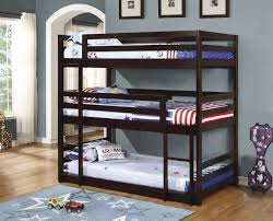 Triple Twin Bunk Bed in Cappuccino Finish   Bunk bed, Triple bunk ...