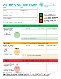 sample asthma action plan