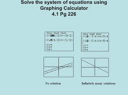 7 solve the system of equations using graphing calculator 4 1 pg 226 no solution infinitely many solutions