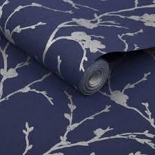Meiying Cobalt Behang Donkerblauw Behang