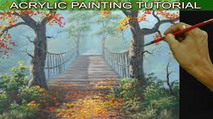 acrylic landscape painting tutorial autumn trees on hanging bridge by jm lisondra