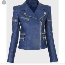 balmain inspired blue leather biker jacket