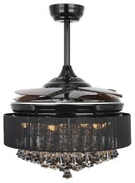42 retractable blades modern led ceiling fan crystal chandelier