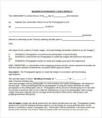 Wedding Photography Contract Form 8 Photography Contract Templates Free Sample Example Format