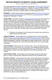 Month To Month Rental Agreement Template Free Nevada Month To Month Rental Agreement Form Pdf Template