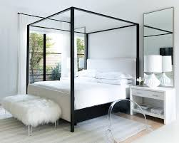 Black Canopy bed with White Bedside Tables - Transitional - Bedroom