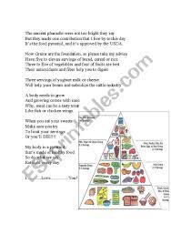 Food Pyramid Song Lyrics And Chart Esl Worksheet By Zakry3323
