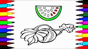 Learn Fruit Colors L Watermelon Coloring Pages For Children L Art