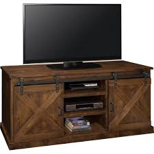 farmhouse 66 tv stand console in distressed aged whiskey w sliding barn doors