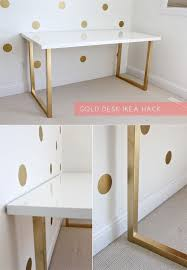 ikea hack white table top with gold legs