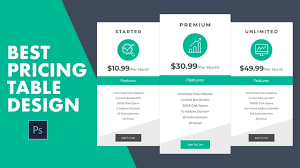 Pricing Table Templates How To Design Pricing Table Template In Photoshop Quick And Easy