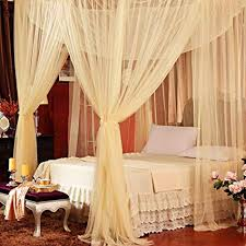 4 Corner Post Bed Canopy Cover Luxurious Cozy Drape Netting Bedding or Outdoors Netting Repellent Fit Twin, Full, Queen, King Bed Protection Yellow