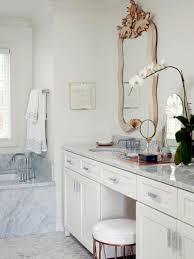 inspiration bathroom vanity chairs: sweet mirror edge on white wall paint closed round sink near amusing vanity stools bathroom on marble floor plus cozy bathtub closed nice window
