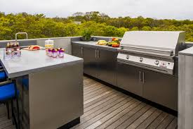 outdoor kitchen with stainless steel cabinetry