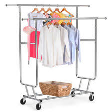 clothing racks for sale. Commercial Chrome Double Rail Clothing Garment Rolling Collapsible Rack Hanger Inside Racks For Sale