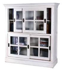 glass door bookcases stackable library white sliding bookcase