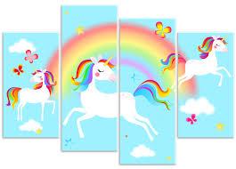 Rubybloom Designs Dancing Rainbow Unicorns Butterflies Girls 4 Panel