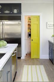 Awesome White and Yellow Kitchen Decor With Slidding Door