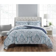 nicole miller colletta 3 piece printed blue multi king comforter set k nmclt 336 the home depot