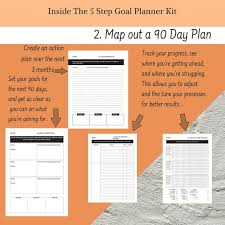Goal Planner Printable Planner Kit With Yearly 90 Day Monthly Weekly And Daily Planner