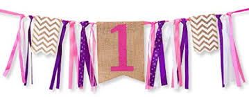 First Birthday Decorations - 1st Burlap Highchair Banner for Girl 19 Best