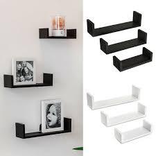 3 u shape floating wall shelves storage display shelf set white black oak uk xes