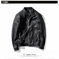 black autumn new men s leather street locomotive zipper pocket solid slim casual men leather jacket