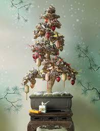 Cool Bonsai Chrismas Decoration In Snowy Themed