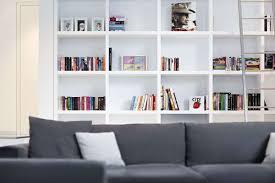 bookshelf for living room. modern white cheap bookshelf in living room feature ivory grid-shape painting for