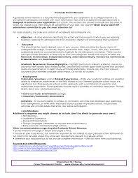 Resume Graduate School Objective