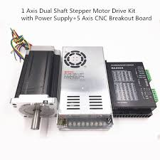 1 axis nema34 12nm stepper motor drive kit dual shaft 1714oz in with power supply
